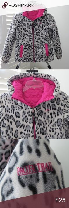 Kid's Jacket - Big Girl's Size 16 Pacific Trail Pink Quilted Jacket Reversing to Animal Print Fleece Quilted Pink Hearts Big Girl's Size 16 (fits a little small - better at fitting for size 14) Excellent Condition (winter coat in South Carolina - worn about 5-10 times) Pacific Trail Jackets & Coats Puffers
