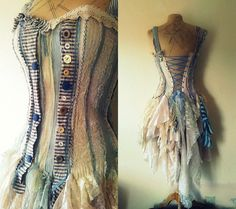 An Alice in Wonderland-inspired dress made from recycled fabrics