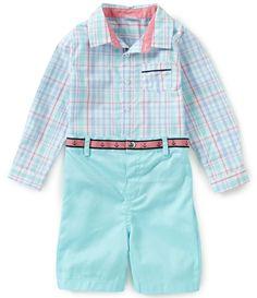 a62ad1ca6d Edgehill Collection Baby Boys Newborn-24 Months Plaid Long-Sleeve Shirt   Solid  Shorts Set