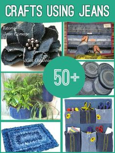 50+ Denim Craft Tutorials! see all here ---> http://diycozyhome.com/50-crafts-made-from-denim/  What have you made from denim lately?? Can't wait to dig into this huge list and pick out a couple of my favorites to do this coming weekend! I really like the flower in the photo...