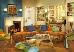 Image result for teal and orange living room