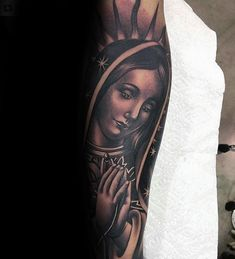 Cool Leg Sleeve Guys Virgin Mary Tattoo Design Half Sleeve Tattoos Drawings, Unique Half Sleeve Tattoos, Half Sleeve Tattoos Designs, Tattoo Designs And Meanings, Best Sleeve Tattoos, God Tattoos, Jesus Tattoo, Tatoos, Future Tattoos