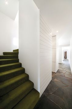 Kennedy Nolan | North Fitzroy private residence; carpet like green velvet contrasting with white and natural stone
