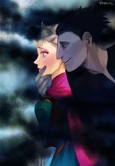 Queen Elsa and Pitch Black (Frozen and Rise Of The Guardians) This is not a ship for me. I just thought it was a neat pic.