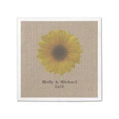 Burlap Inspired Yellow Sunflower Wedding Napkins Paper Napkins