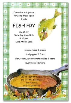 Fish fry party invitations love these just because lent for How to season fish for frying