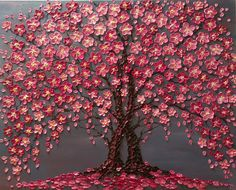 Cherry Blossom Trees The Jewels of Love Original oil impasto painting on Stretched Canvas Ready to ship Cherry Blossom árboles gris rosa Original óleo de empaste Cherry Blossom Painting, Cherry Blossom Tree, Blossom Trees, Cherry Tree, Abstract Tree Painting, Acrylic Painting Canvas, Knife Painting, Blossom Tree Wedding, Wall Drawing
