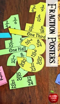 Hang these posters for your students to use as a quick reference during math. They are the perfect tool for students to work on their finding of equivalent fractions. Included is one whole, one half, one third, two thirds, one fourth and three fourths. 3rd Grade Classroom, Math Classroom, Classroom Ideas, Math Fractions, Dividing Fractions, Teaching Fractions, Multiplication, Fifth Grade Math, Fourth Grade