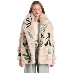 Tim Labenda Women Swarovski Embellished Faux Fur Coat ($12,000) ❤ liked on Polyvore featuring outerwear, coats, beige, pink fake fur coat, pink coat, imitation fur coats, fake fur coats and pink faux fur coat