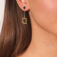 Gold & Black Plated Bronze Geometric Long Square Earrings 3 in 1 - Anthos Crafts Square Earrings, Stud Earrings, Greek Culture, Greek Art, Affordable Jewelry, Handmade Art, Black Gold, Plating, Bronze