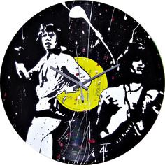 Horloge the rollings stones sur disque vinyl 33 tours