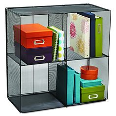 Four Cubes With Optional Bins, Sold In Packs Of Steel Mesh Construction.  Collapsible For Compact Storage When Not In Use.