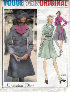 Vogue Paris Original sewing patterns 2838, Christian Dior, jacket skirt blouse sewing pattern, 70s pattern, Bust 34 inches. Misses jacket, skirt and