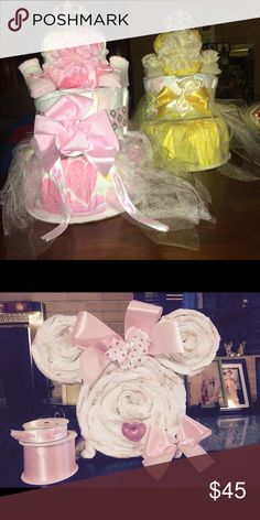 Custom made diaper cakes ! My diaper Cakes are custom made and made to order! The pricing STARTS at $45. The pricing increases depending on quantity and brand of diapers Along with any baby essentials you would like added to the cakes as well! Please message me for more details! We can discuss what I can do and your individual price ! Thank you 😊 Other