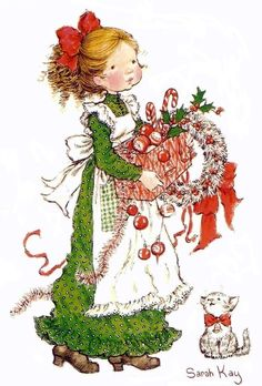 Old-fashioned girl with Christmas decorations, by Sarah Kay