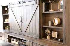Farmhouse entertainment center barn door floating stand spice decor corner on casters white rustic . farmhouse entertainment center with barn doors . Tv Stand And Entertainment Center, Entertainment Room, Entertainment System, Barn Door Tv Cabinet, Reclaimed Wood Media Console, Floating Tv Stand, Barn Storage, Tv Decor, Fall Decor
