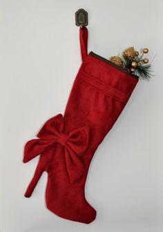 Burgandy high heel boot christmas stocking. | zorraindina - Seasonal on ArtFire
