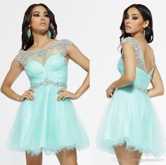 Cheap Cheap for Sale - Discount Cheap for Sale 2014 Riva Mint Tulle Plus Size Homecoming Dresses Open Back Cocktail Dress a Line Crew Beaded Ruched Prom Dress Online with $80.11/Piece | DHgate