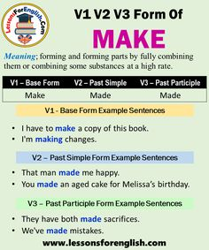 Make Meaning, Form Example, Present Perfect, Irregular Verbs, English Verbs, How To Know, How To Make, Past Tense, Prepositions