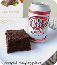 Low Fat Diet Dr. Pepper Brownies - I used Diet Root Beer and they were great! Heart Healthy Desserts, Low Fat Desserts, Sugar Free Desserts, Healthy Junk, Healthy Deserts, Dessert Recipes, Healthy Eating, Sugar Free Fudge, Sugar Free Brownies