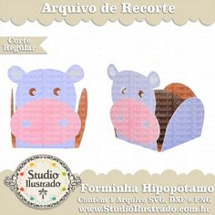 Forminha Hipopótamo, Treat Holder Hippo, Chocolate, Bombom, Form, Festa, Party, Silhouette, Regular Cut, Corte Regular, SVG, DXF, PNG