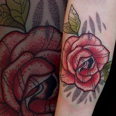 Rose tattoo. Dot work