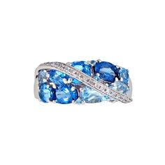 Blue Topaz and Created White Sapphire Fashion Ring ($139) ❤ liked on Polyvore featuring jewelry, rings, white, band jewelry, white jewelry, blue topaz ring, white ring and white sapphire band ring