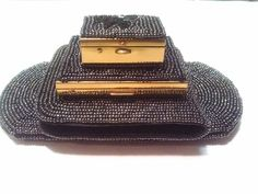 1950s Schildkraut Bros Caviar Beaded Wallet, Compact, Pill Box and Cat Eye Glass Case ~ Hand beaded ~ Made in Japan - Perfect Condition by GlitterNGoldVintage on Etsy