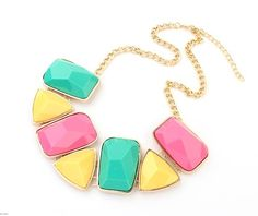 Beautiful, positive necklace made of colourful stones - essential accessory of every fashionable woman!
