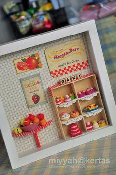 DIY Miniature framed diorame dollhouse idea - Cuadro arcilla polimerica diorama casa de muñecas