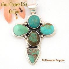 Pilot Mountain Turquoise Stone Sterling Cross Sampson Jake Four Corners USA OnLine Native American Silver Jewelry NACR-1417