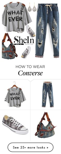 """""""You've Got Me Feeling Torn Up"""" by deborah-calton on Polyvore featuring WithChic, Converse, AmeriLeather, Larkspur & Hawk and shein"""