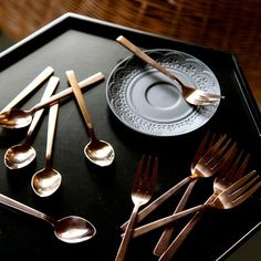 Sharyn's Pick! When cutlery meets copper only good things can happen. Serving up afternoon tea just got a whole lot better with these on trend copper fork and spoon sets. #ShazzasStyle #AffordableDesign #Copper #RoseGold