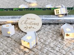 Bebe au Lait Wooden Milestone 'My First Christmas' My First Christmas, Christmas Ideas, Place Card Holders, In This Moment, Bebe