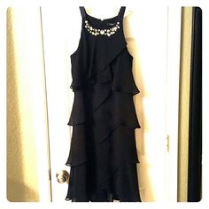 Spotted while shopping on Poshmark: S.L. Fashions tiered dress w/ jeweled neckline! #poshmark #fashion #shopping #style #Dresses & Skirts