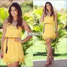 Gasa amarilla de las nuevas mujeres de moda la túnica del cordón Mini vestido de fiesta informal