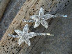 Starfish Beach Wedding Bridal Hair Pins-Nautical Wedding, Bridal Hair, Vegan Friendly, Destination Wedding, Silver Starfish Hair Pins on Etsy, $24.95