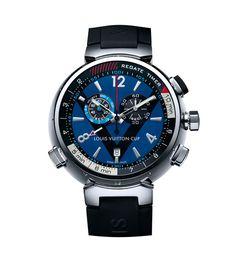 La montre Tambour LV Cup Régate Chronographe Quartz de Louis Vuitton.