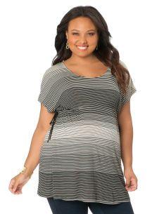 Plus Size Short Sleeve Scoop Neck Drawstring Maternity T Shirt