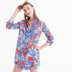 J.Crew Long-sleeve popover beach shirt in Ratti® rio floral