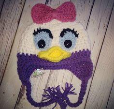Crochet Daisy Duck Hat by crochetmomma2011 on Etsy https://www.etsy.com/listing/209646424/crochet-daisy-duck-hat