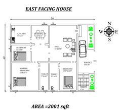 Fully Furnished Wonderful East Facing House Plan As Per Vastu Shastra , Autocad DWG file Details - Cadbull 2 Storey House Design, Bungalow House Design, Small House Design, 2bhk House Plan, Dream House Plans, House Floor Plans, Home Design Plans, Plan Design, Small Room Design Bedroom