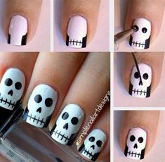 How cute are these skull nails by They're perfect for Halloween! You can also watch her video tutorial to see how to create this simple skull nail art. How are you wearing your nails for Halloween? Skull Nail Art, Skull Nails, Nail Art Diy, Easy Nail Art, Diy Nails, Cute Nails, Pretty Nails, Diy Manicure, Glitter Nails