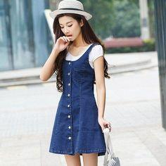 Korean Fashion Denim Strap Dress SD00445 #KoreanFashion #90SFashionTrends