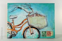 Bicycles & mail art = two of my favorite things Decorated Envelopes, Handmade Envelopes, Mail Design, Mail Art Envelopes, Art Postal, Fun Mail, Envelope Art, Letter Art, Letter Writing
