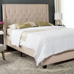 Shop the latest collection of Light Beige Linen Upholstered Tufted Wingback Bed (Queen) Grey Modern Contemporary Transitional Espresso from the most popular stores - all in one place. Similar products are available. Upholstered Panels, Furniture, Beige Headboard, Wingback Bed, Furniture Deals, Bed Lights, Upholstered Storage, Bedroom Furniture, Upholstered Platform Bed