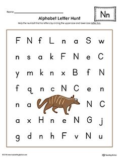 Alphabet Letter Hunt: Letter N Worksheet (Color). The Alphabet Letter Hunt: Letter N in Color is a fun activity that helps students practice recognizing the uppercase and lowercase letter N.