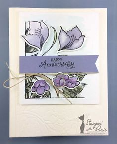 """Share Your Love With This Serene Garden Anniversary Card by Stampin' With Pixie. The card was made using stampin' up! serene garden bundle. The ivory (very vanilla) card base has a dry embossed panel in the lower left corner featuring an art deco floral design. Mounted in the upper center of the card is a hand-stamped and watercolored design featuring art deco flowers and leaves in purples and soft greens. A purple banner with the sentiment """"Happy Anniversary"""" is mounted in the center."""
