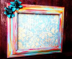 VINTAGE Upcycled Wall FRAME - Painted in Bright Red w/ Turquoise Red & Orange Rusted Metal Flower Accent
