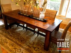 Traditional Farmhouse Table...I love this, and the wicker chairs!